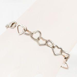 Vintage Sterling Silver Heart Link Tennis Bracelet